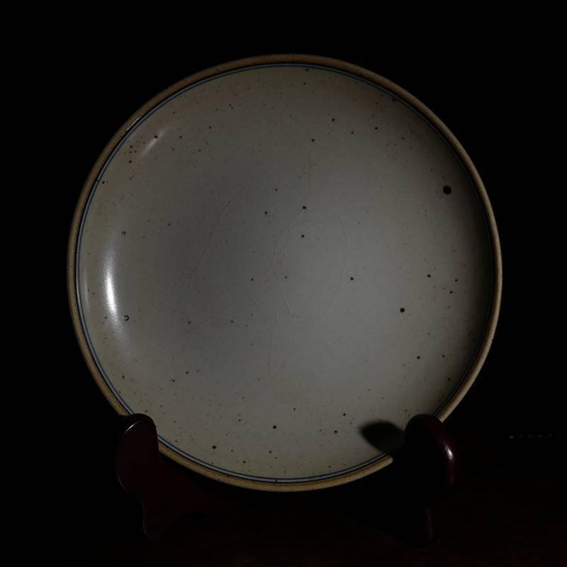 台湾晓芳窑早期仿古青花铁锈斑壶承 台湾蔡晓芳开片赏盘