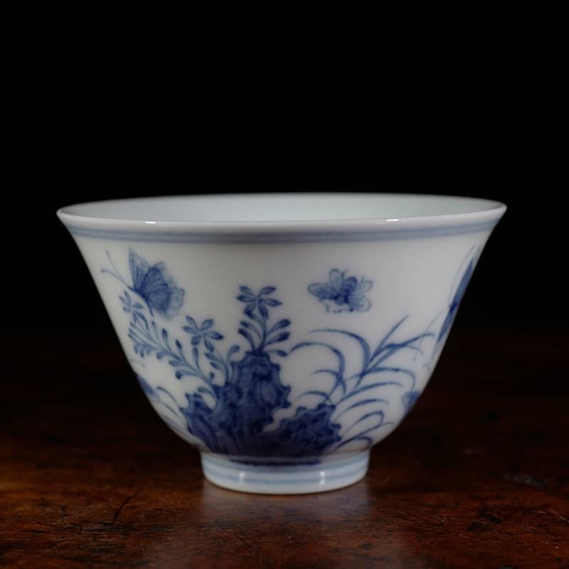 景德镇陶人临古仿大明成化年制三秋杯 手绘青花瓷主人杯
