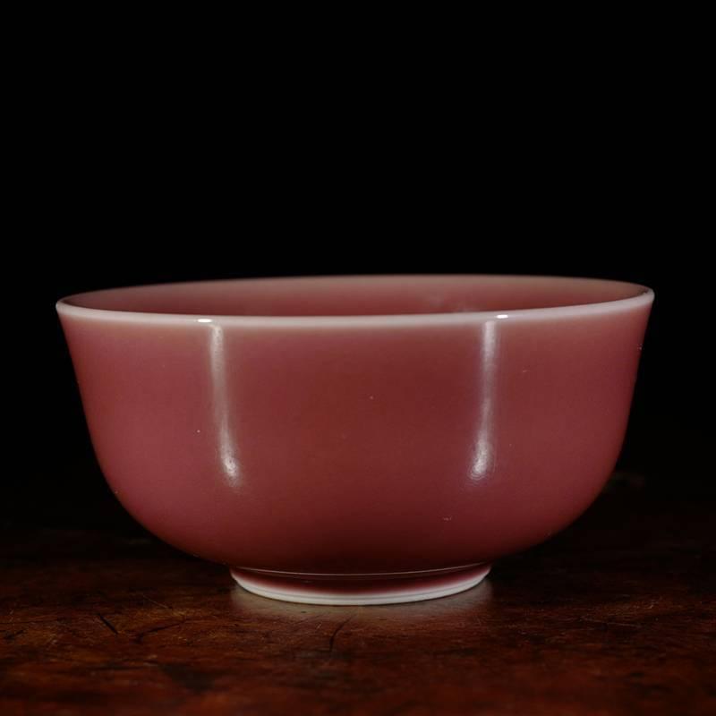 台湾晓芳窑桃红望月杯品杯 台湾蔡晓芳单色釉主人杯茶杯