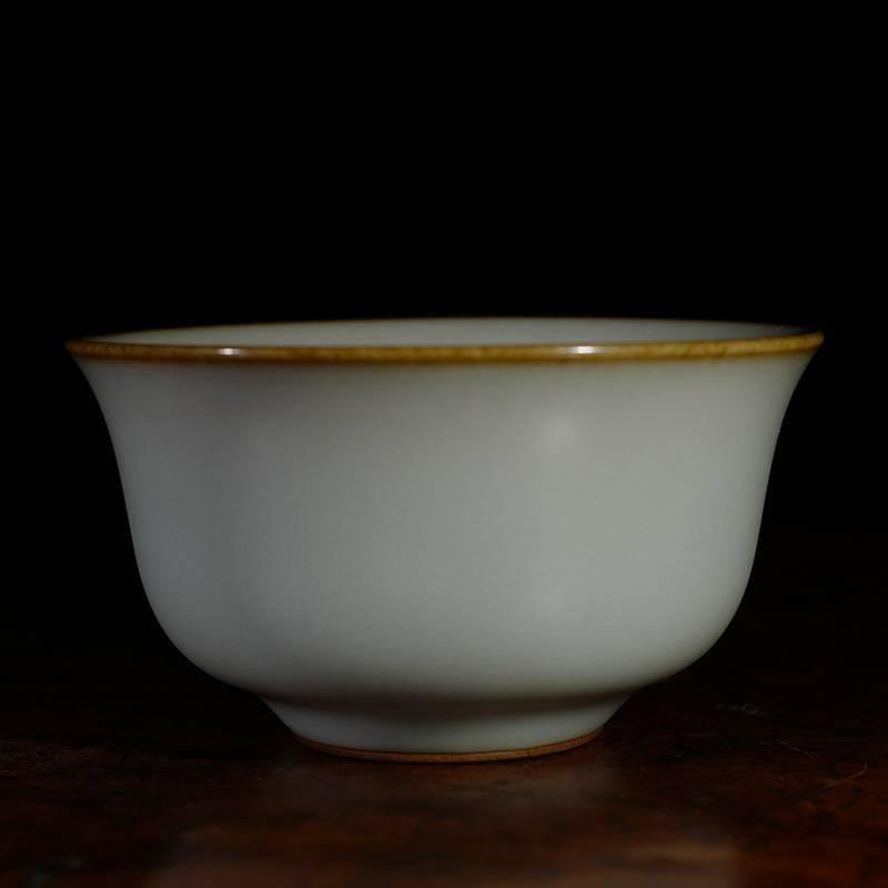 台湾晓芳窑早期仿汝天青不开片玛雅杯 台湾蔡晓芳汝窑杯