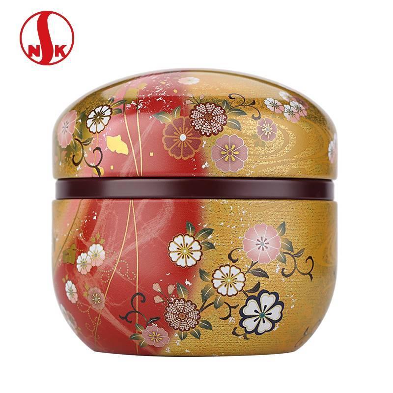 日本原装进口NITTOH茶叶罐 日式花吹雪食品级镀锡茶叶罐
