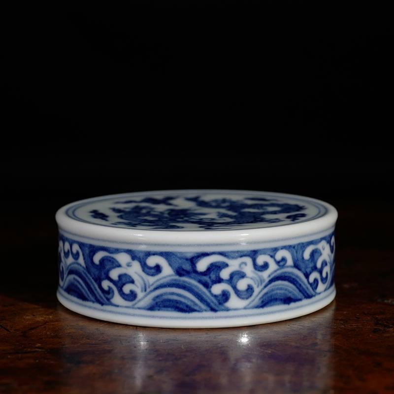 景德镇陶人临古手绘青花海浪龙纹盖置 壶盖置放茶道具