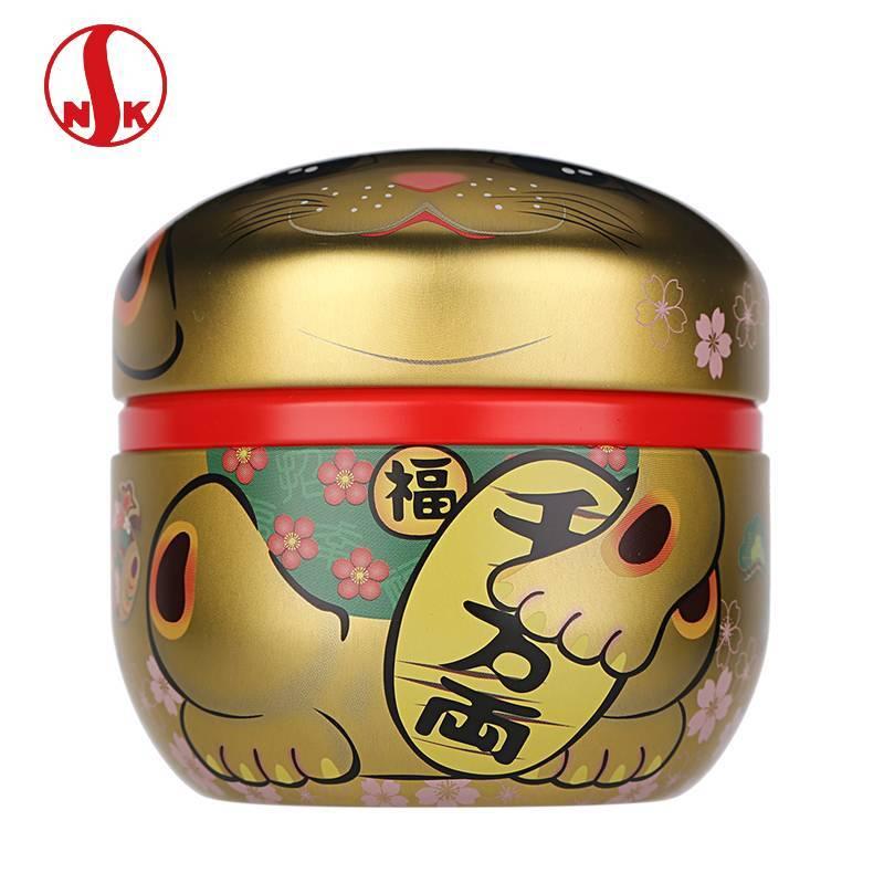 日本NITTOH进口招财猫马口铁镀锡茶叶罐 日本日东食品罐