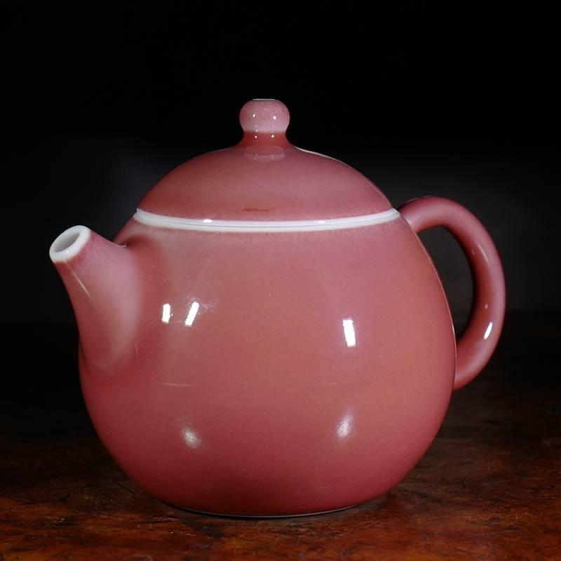 龙圣华苑 景德镇谷雨山房豇豆红西施壶 传统原矿釉手工陶瓷泡茶壶