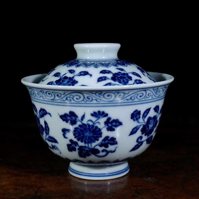 景德镇陶人临古手绘青花折枝花小盖碗 仿古青花茶道具